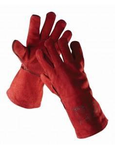 SANDPIPER - Manusi de sudor din piele spalt, roșu