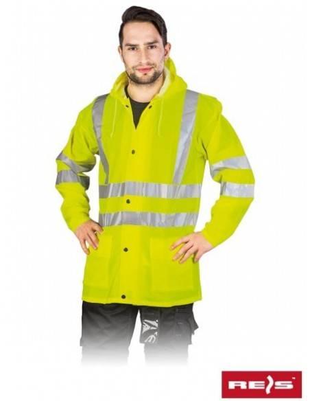 Jacheta de protectie impermeabila , cu benzi reflectorizante KPDPUFLUO