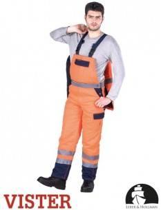 Pantaloni de protecție cu pieptar din țesătură fluorescentă.