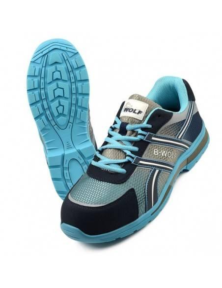 Pantofi de protectie DASH S1P din piele, albastri, cu bombeu compozit