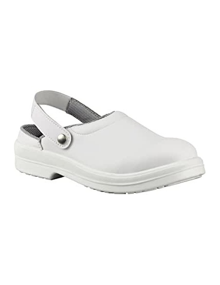 Sandale medicinale de protectie albe cu bombeu compozit Diamante
