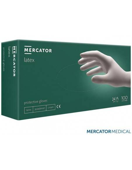 Set 100 bucati manusi de protectie, de unica folosinta Mercator, Latex, Alb